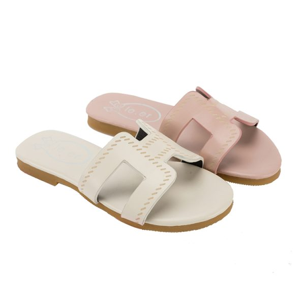 Top quality outdoor girls double color slipper for sale
