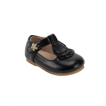 Girl leather patent mary jane tassel shoes