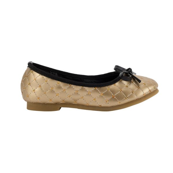 Girls bowknot elegant gold and black dance shoes