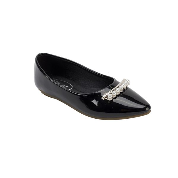 Little princess pearl decoration shiny leather Mary Jane black shoes