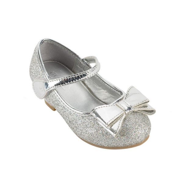 Silvery patent leather mary janes toddler